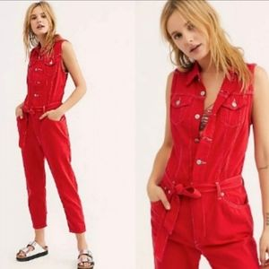 Levi's red denim jumpsuit